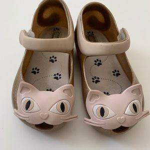 Mini Melissa Gold Cat Shoes Size 7